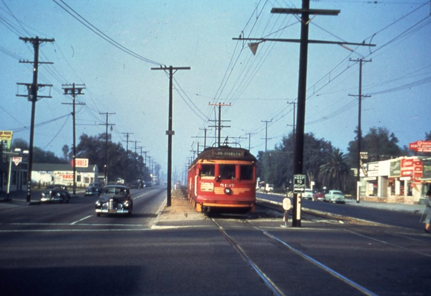 Last trolley car to Van Nuys, 1952