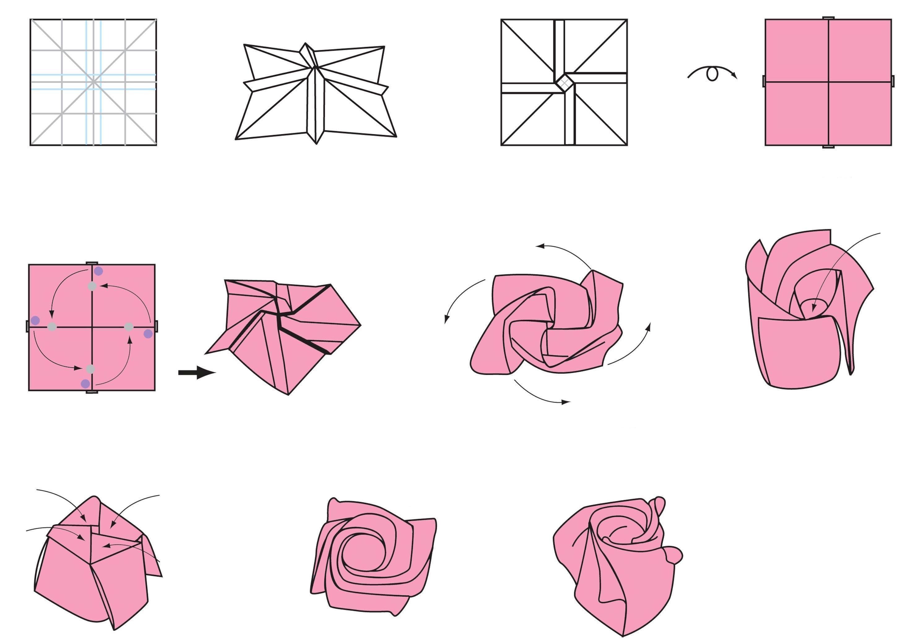 Origami Flowers Instructions Origami Rose Photos And Diagrams