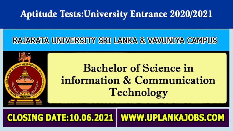 ICT Aptitude Test 2020/2021: Rajarata University of Sri Lanka, Vavuniya Campus