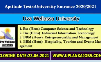 Uva Wellassa University Aptitude Test 2021