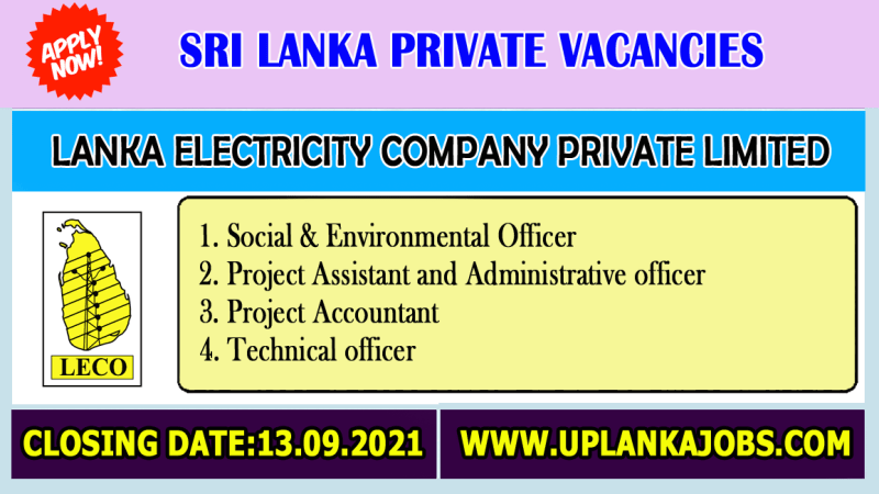 Lanka Electricity Company Private Limited Vacancies 2021