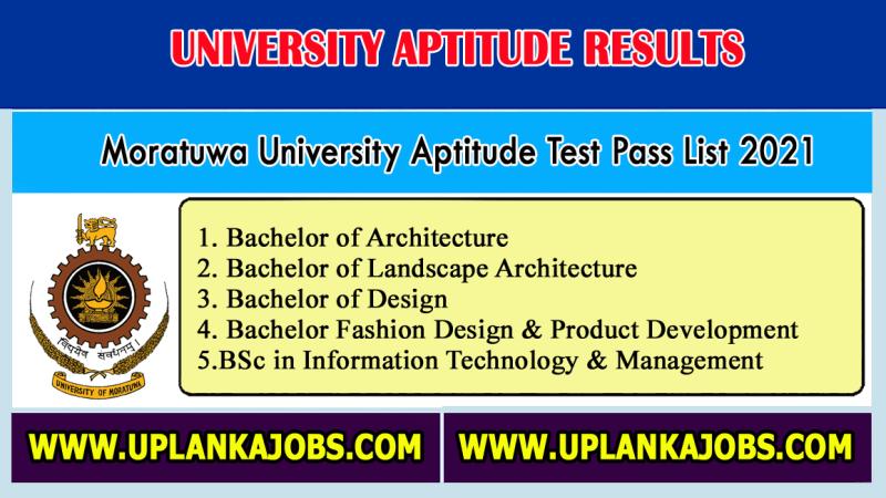 Moratuwa University Aptitude Test Pass List 2021