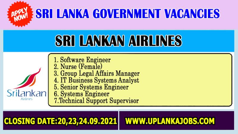 Sri Lankan Airlines Vacancies 2021