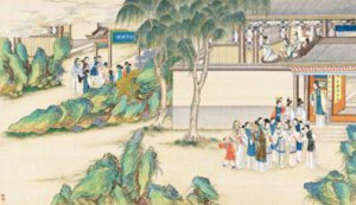 贾宝玉品茶栊翠庵,清孙温绘《红楼梦》第41回插图。 (公有领域)