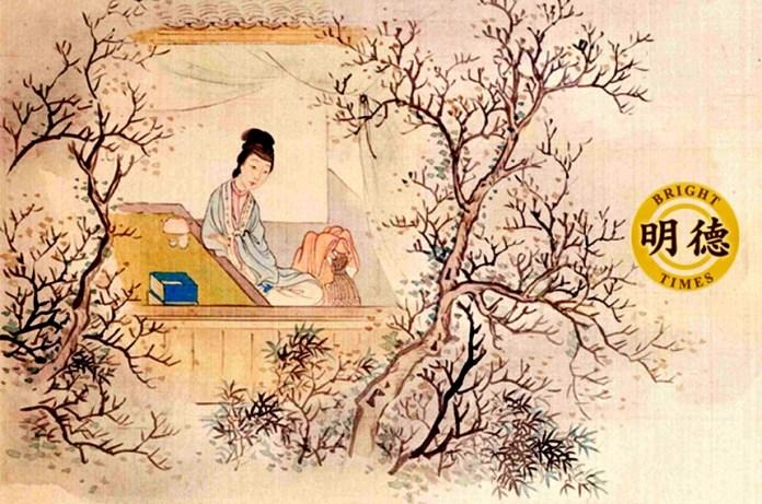 妙玉像,清费丹旭绘《十二金钗图册》,绢本设色,北京故宫博物院藏。 (公有领域)