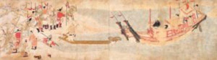 《吉备大臣入唐绘卷》描绘日本人吉备真备入唐的情景。 (公有领域)