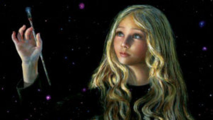 阿琪雅纳最得意的自画像是下面这幅《创造的同工》。是她刚满十一岁时画的(Akiane Kramarik)