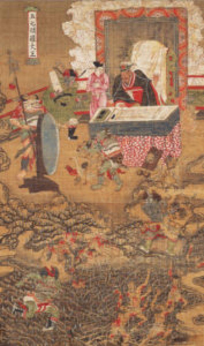 绢本着色十王像《五七阎罗大王图》 (陆忠渊绘画/Nara National Museum 收藏)