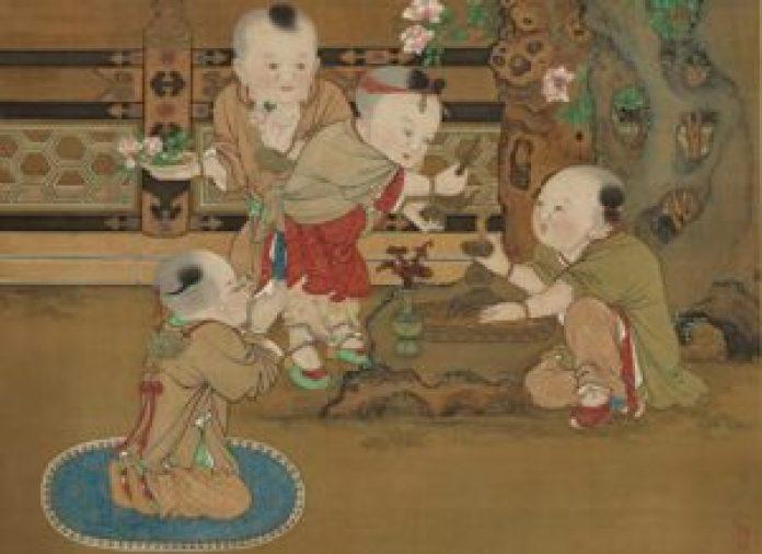 图为宋 苏汉臣《灌佛戏婴轴》局部。(国立故宫博物院提供)