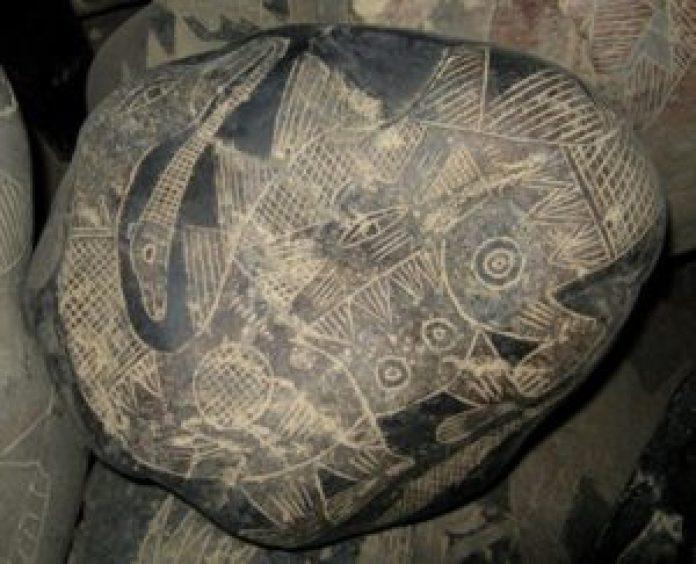 具有细致皮肤纹理的恐龙图案的史前刻石 (明慧网)