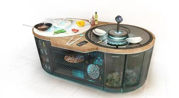 kitchen island seats 6 tables cheap 未来的一体化智能厨房系统 简书 从营养建议 食物配比到烹饪指导 烹制到洗碗和垃圾收集等过程都可以在这个岛形的一体化系统中完成