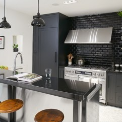 Gray Subway Tile Kitchen Where To Buy Faucets 看了这20个厨房墙面你也会想铺设地铁砖 简书 大胆的使用黑色地铁砖 白色的盘子和不锈钢灶头 而光泽的表面保持外观时尚 感觉非常舒服