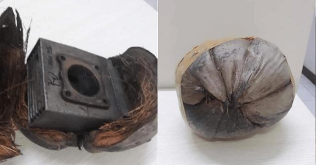 Pelanggan terima bungkusan kulit kelapa.