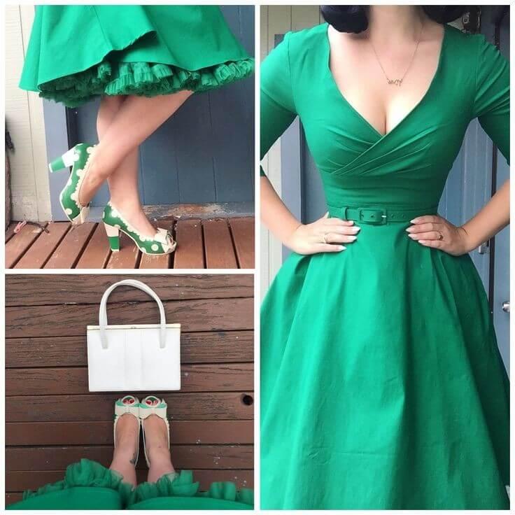 6a165d82d88ca Topánky nemusia byť jednoduché. Pre bežné oblečenie si vyberte topánky so  zaujímavými farbami. V tomto prípade sa zelené šaty nezhromažďujú s  topánkami, ...