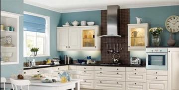 blue kitchen wall clocks aid appliances 厨房挂钟效果图 厨房挂钟图片 厨房挂钟装修效果图 点点美家 现代别墅厨房蓝色背景墙设计装修效果图