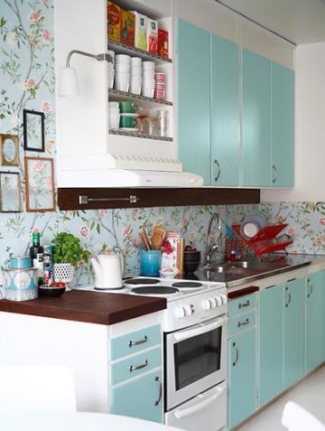 wallpaper for kitchen vent 厨房壁纸效果图 厨房壁纸图片 厨房壁纸装修效果图 点点美家 宜家风格装修一字型厨房效果图