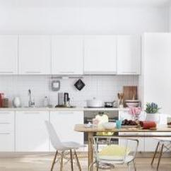 White Kitchen Floor Distressed Cabinets 宜家厨房地板吊柜效果图 宜家厨房地板吊柜图片 宜家厨房地板吊柜装修效果 30个现代白色厨房设计