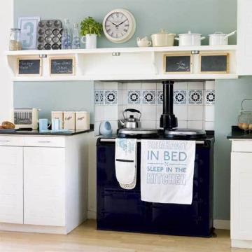 blue kitchen wall clocks ikea kitchens usa 简欧厨房挂钟效果图 简欧厨房挂钟图片 简欧厨房挂钟装修效果图 点点美家 田园蓝色系厨房
