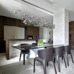 Kitchen Glass Table Aid Oven 玻璃餐桌效果图 玻璃餐桌图片 玻璃餐桌装修效果图 点点美家 莫斯科现代风餐厅厨房一体装修效果图