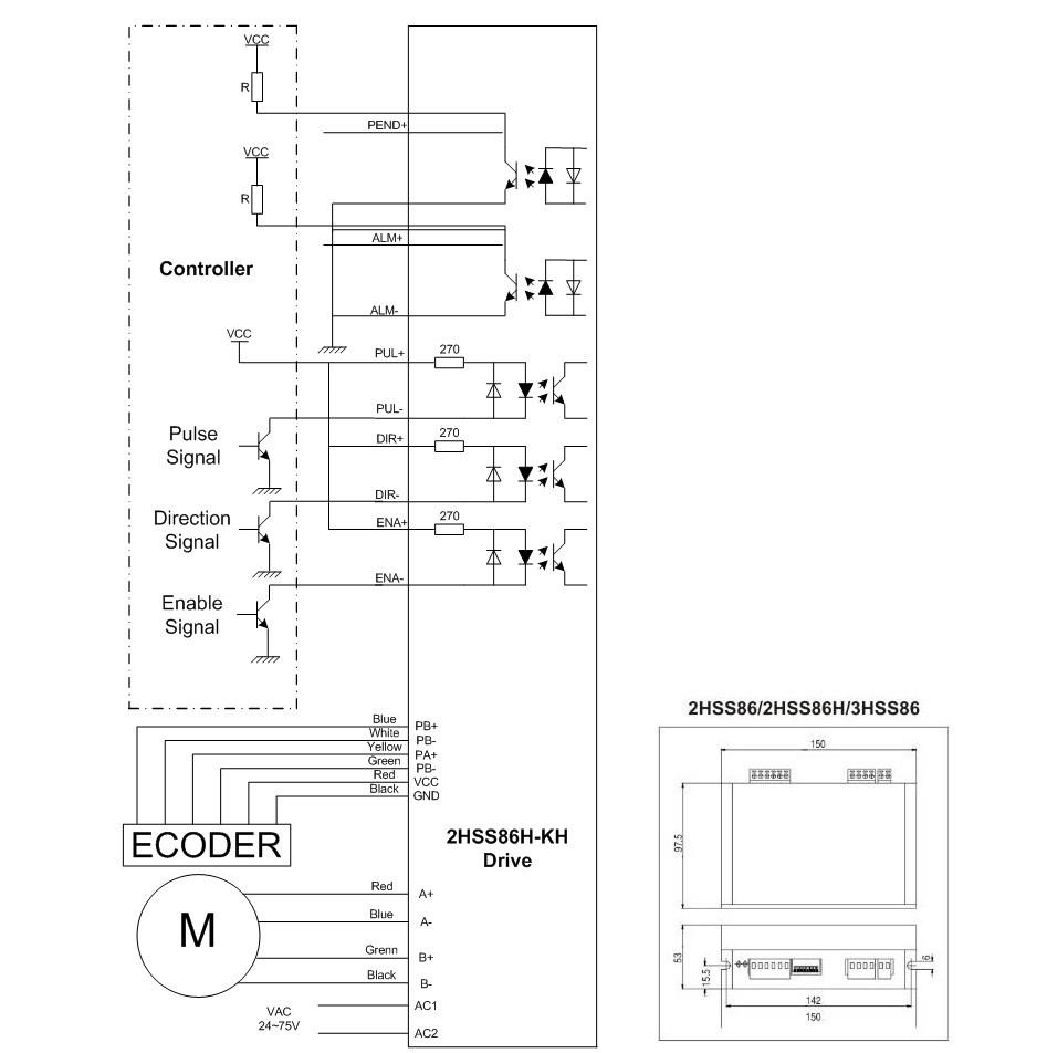 medium resolution of 2 phase nema 34 12n m 1699ozf in closed loop stepper servo motor driver