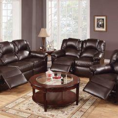 Espresso Bonded Leather Reclining Sofa Loveseat Set Fabric Corner Sofas Dfs 3 Pcs Motion Recliner