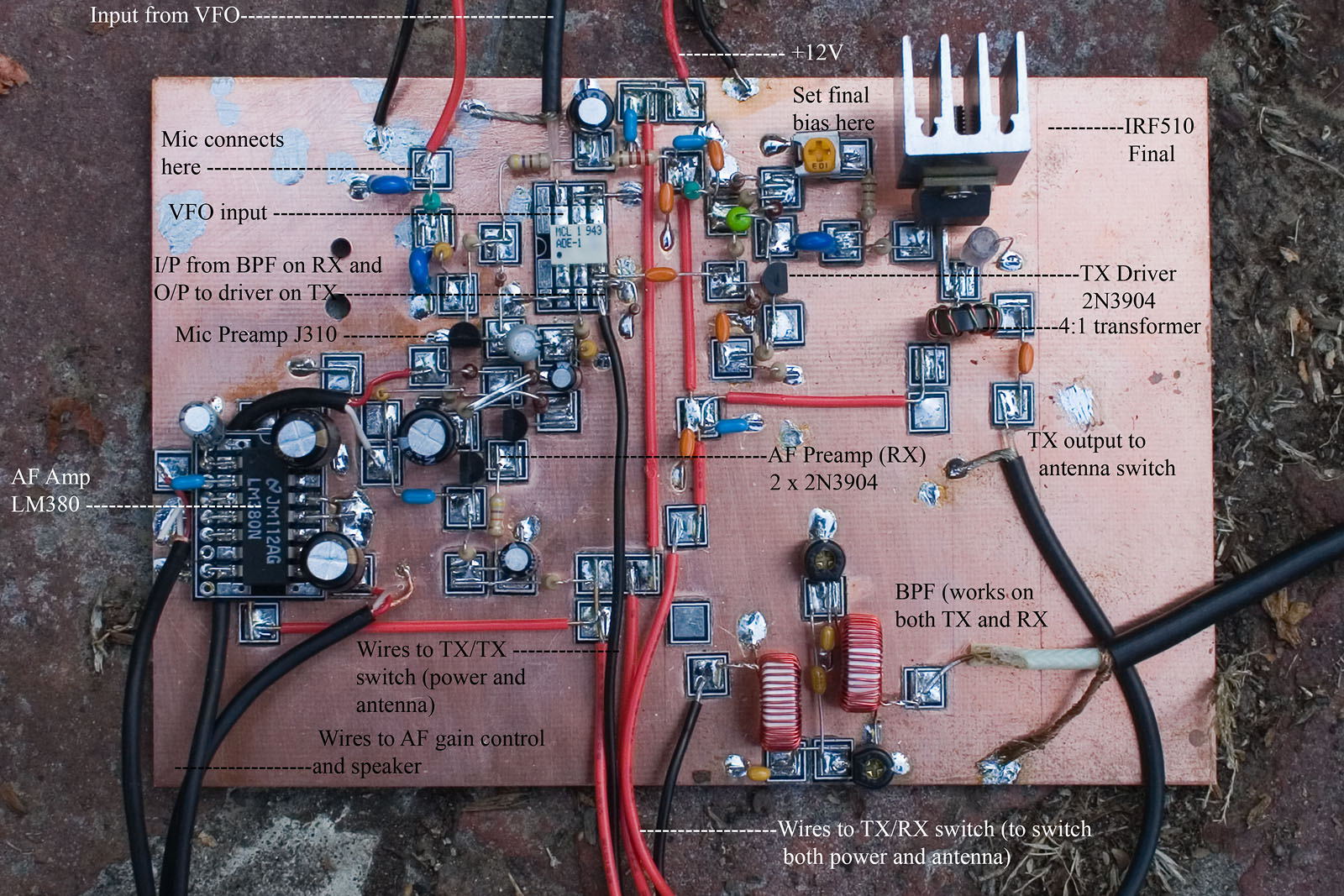 The Dsb80 Part 2 And A New Addition To Shack Dave Richards Aa7ee Amplifier Described Here Uses Two Small Amplifiers Like Lm380 Mounted If You Saw Earlier Iteration Of This Board From Previous Post Youll See That I Have Removed On Vfo In Its Place Is Mic Amp For
