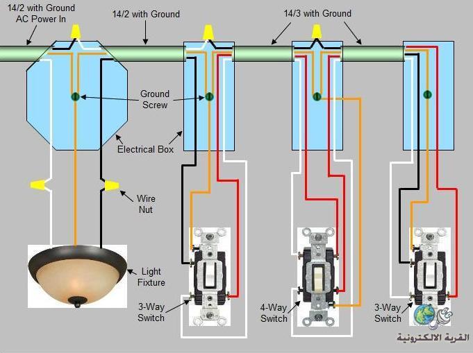 leviton 4 way switch wiring diagram jeep 0 serpentine belt ثلاث نماذج لكيفية توصيل لمبة الدرج ( السلم ) - الصفحة 2 منتدى القرية الإلكترونية