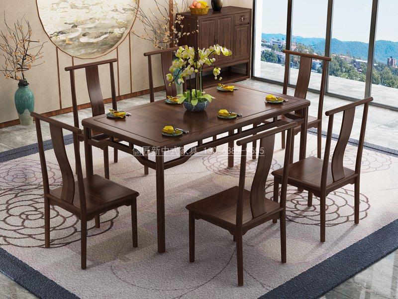 新中式實木餐桌餐椅定制,長餐桌定制,新中式餐桌款式圖片_儒匠家具