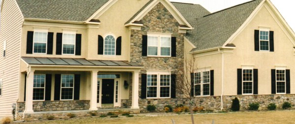 Colonial Homes With Stucco And Stone Brick