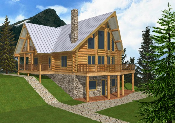 Log Cabin Home Plans With Basement Simple House
