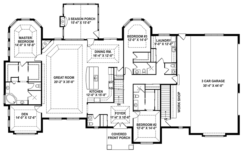 One Story House Plans with Open Floor Plans One Story