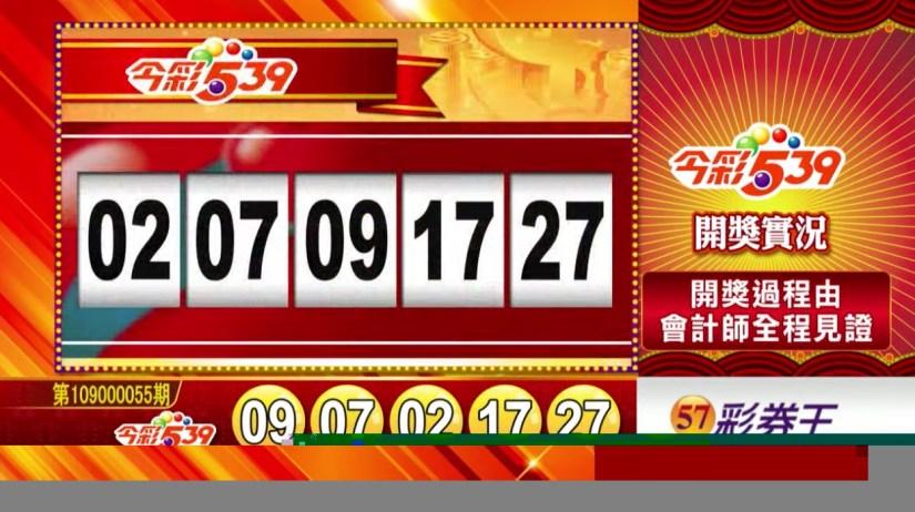 今彩539中獎號碼》第109000055期 民國109年3月4日