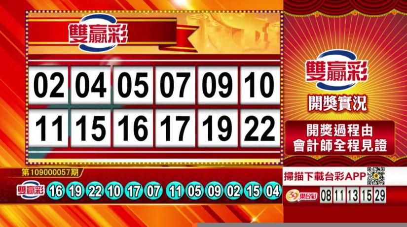 雙贏彩中獎號碼》第109000057期 民國109年3月6日