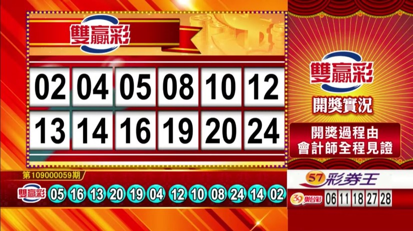 雙贏彩中獎號碼》第109000059期 民國109年3月9日