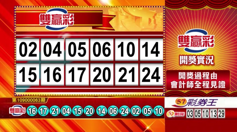 雙贏彩中獎號碼》第109000063期 民國109年3月13日