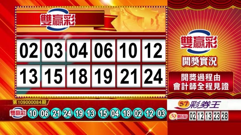雙贏彩中獎號碼》第109000084期 民國109年4月7日