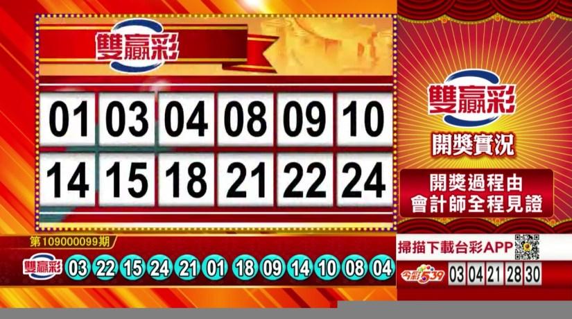 雙贏彩中獎號碼》第109000099期 民國109年4月24日 《#雙贏彩 #樂透彩開獎號碼》