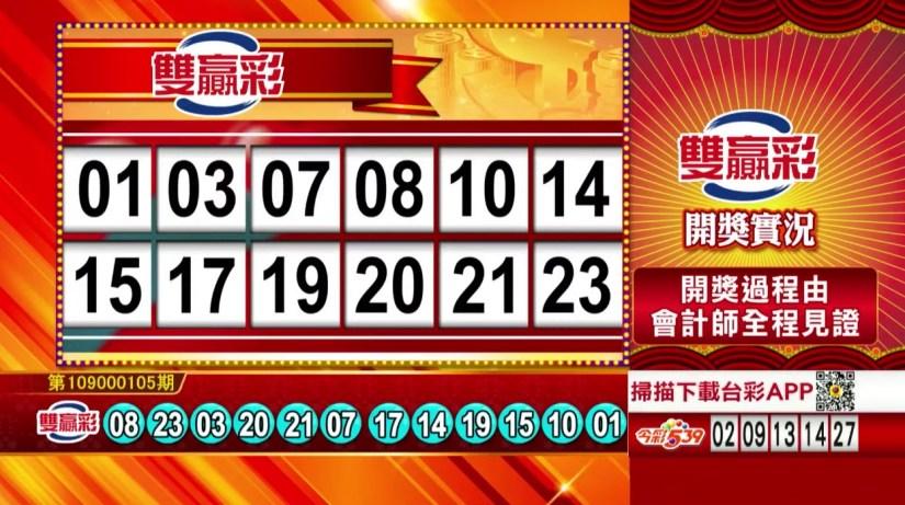 雙贏彩中獎號碼》第109000105期 民國109年5月1日 《#雙贏彩 #樂透彩開獎號碼》