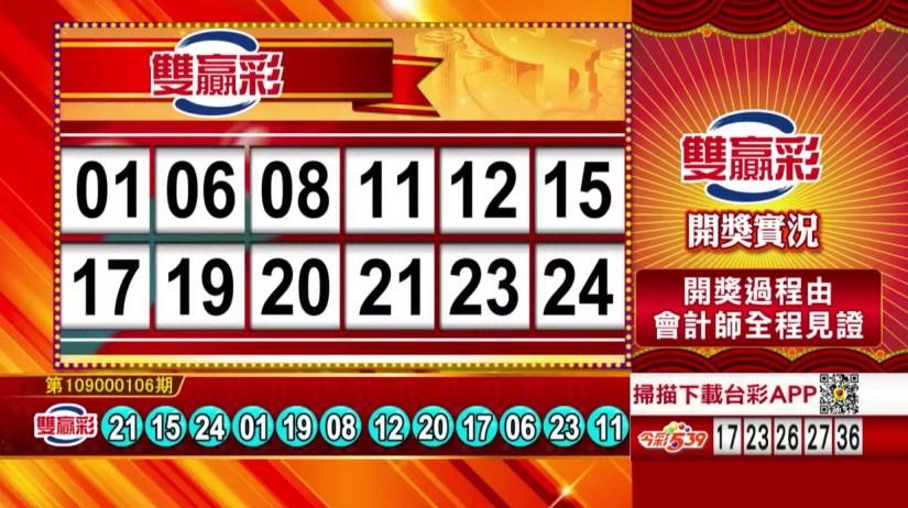 雙贏彩中獎號碼》第109000106期 民國109年5月2日 《#雙贏彩 #樂透彩開獎號碼》