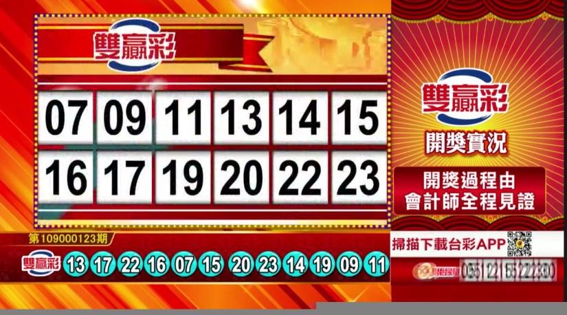 雙贏彩中獎號碼》第109000123期 民國109年5月22日 《#雙贏彩 #樂透彩開獎號碼》
