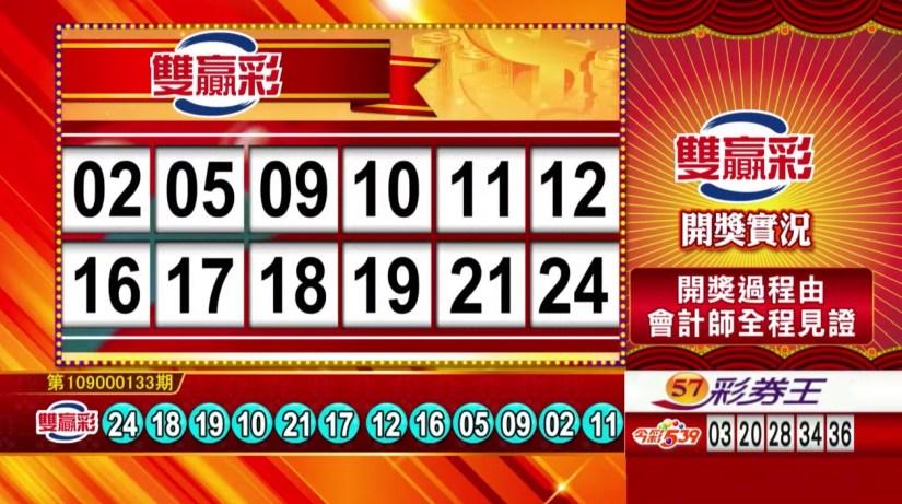 雙贏彩中獎號碼》第109000133期 民國109年6月3日 《#雙贏彩 #樂透彩開獎號碼》