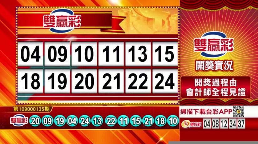 雙贏彩中獎號碼》第109000135期 民國109年6月5日 《#雙贏彩 #樂透彩開獎號碼》