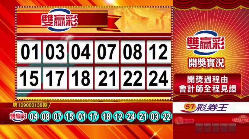 雙贏彩中獎號碼》第109000139期 民國109年6月10日 《#雙贏彩 #樂透彩開獎號碼》