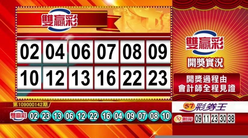 雙贏彩中獎號碼》第109000142期 民國109年6月13日 《#雙贏彩 #樂透彩開獎號碼》