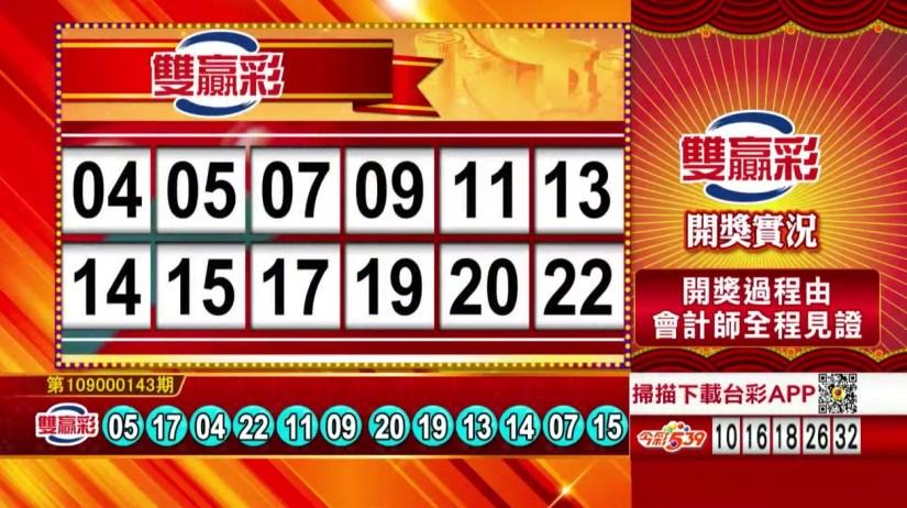雙贏彩中獎號碼》第109000143期 民國109年6月15日 《#雙贏彩 #樂透彩開獎號碼》