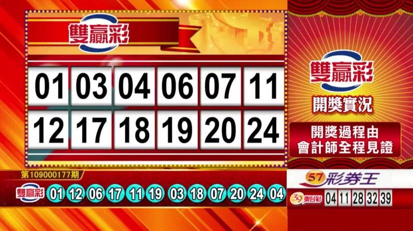 雙贏彩中獎號碼》第109000177期 民國109年7月24日 《#雙贏彩 #樂透彩開獎號碼》
