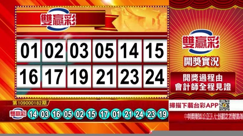 雙贏彩中獎號碼》第109000182期 民國109年7月30日 《#雙贏彩 #樂透彩開獎號碼》
