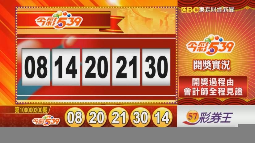 今彩539中獎號碼》第109000200期 民國109年8月20日 《#今彩539 #樂透彩開獎號碼》