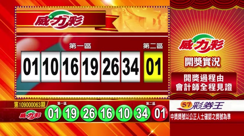 威力彩中獎號碼》第109000063期 民國109年8月6日 《#威力彩 #樂透彩開獎號碼》