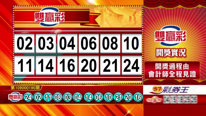 雙贏彩中獎號碼》第109000190期 民國109年8月8日 《#雙贏彩 #樂透彩開獎號碼》